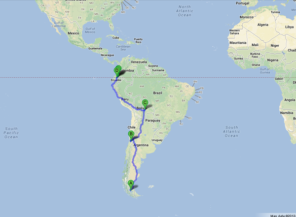 How Do You Choose A Route To Cycle Around The World Cyclehacker - Argentina map google
