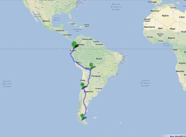 Punta-Arenas-Chile-to-Tulcan-Ecuador-GoogleMaps