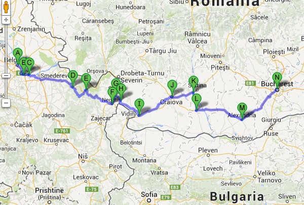 Belgrade, Serbia to Bucharest, Romania