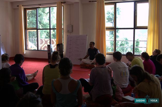 Learning about the chakras with Yogesh in one of many of his insightful philosophy lessons.