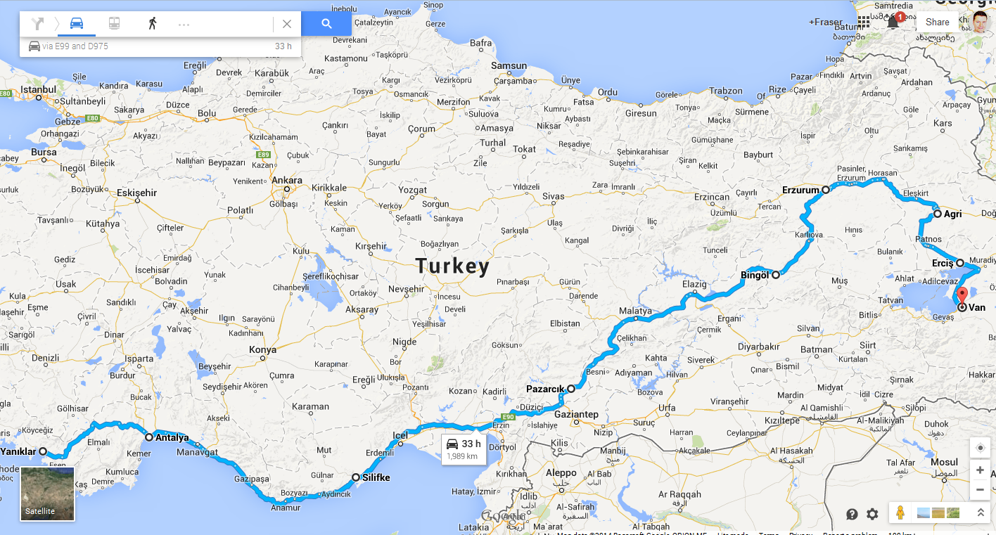Yaniklar to Van - Turkey