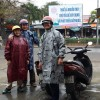 Motorbike touring in Hue, where the rain was a great excuses to dress up as multi-coloured Starship Troopers, or weird relatives of Mr Blobby.
