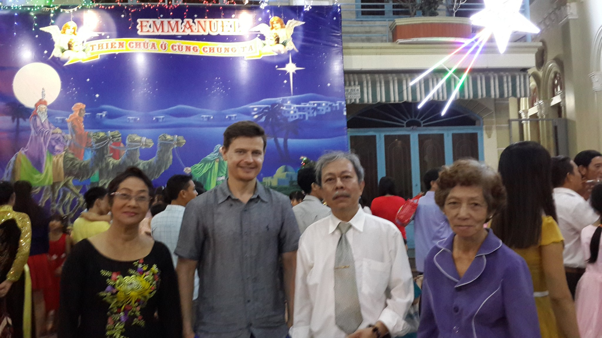 Christmas service at Trinh's parents local church. Left to right - Trinh's Mum, me, Trinh's Dad and Trinh's Aunt (Mum's sister).