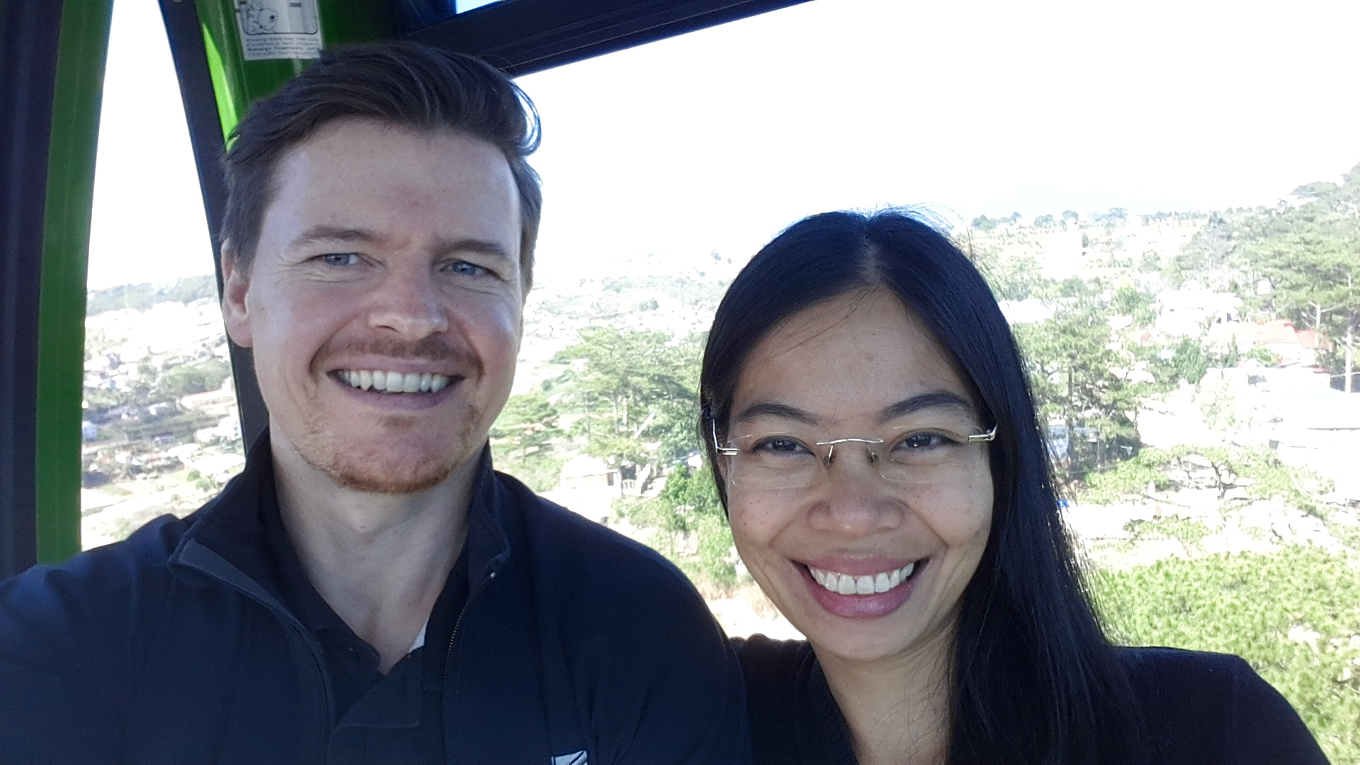 Taking a cable car in Dalat New Years day 2016.